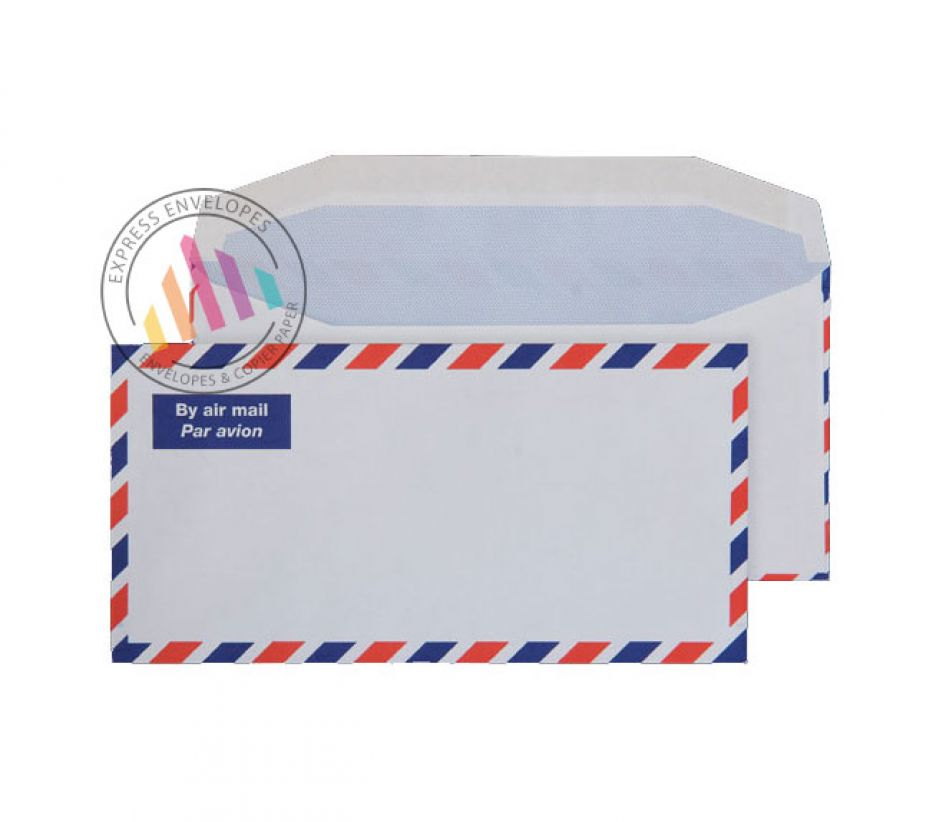 DL - White Block & Border Airmail Envelopes - 80gsm - Non Window - Gummed