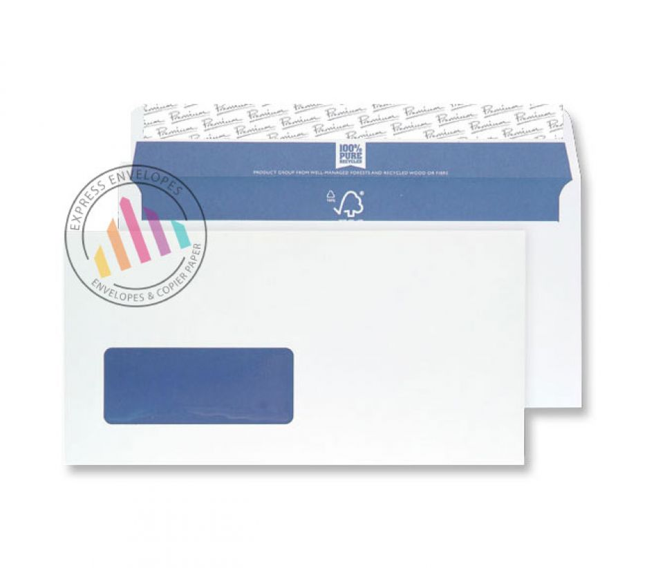 DL -  Super White Wove Envelopes - 120gsm - Window - Peel & Seal