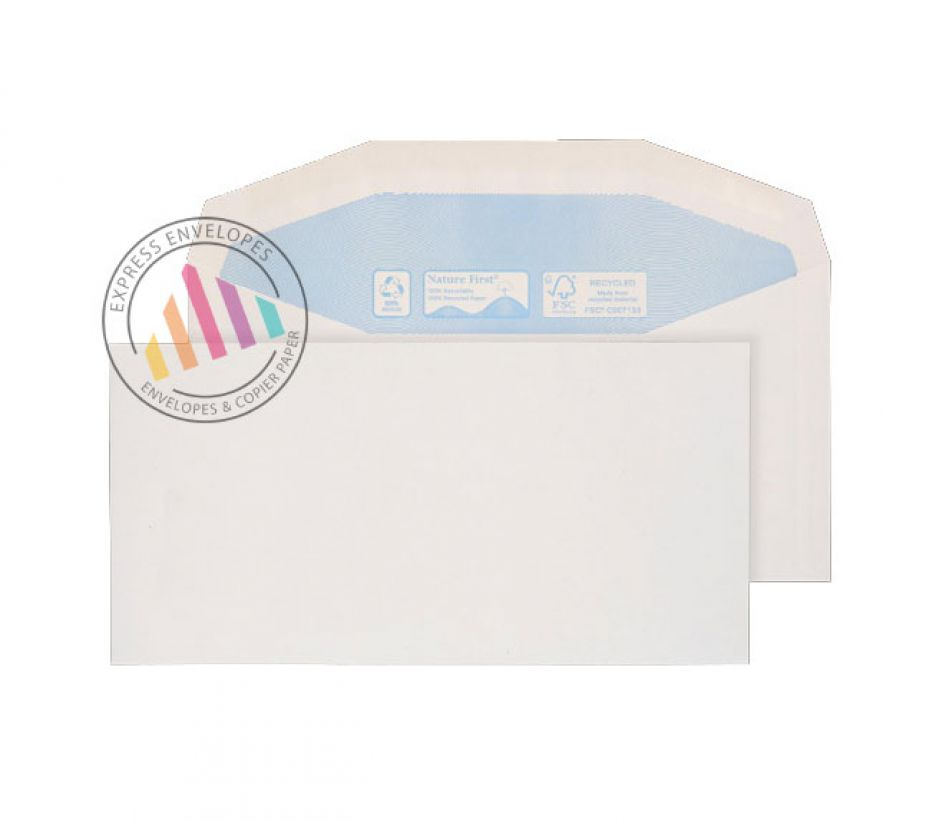 Recycled DL+ - White Mailing Envelopes - 90gsm - Non Window - Gummed