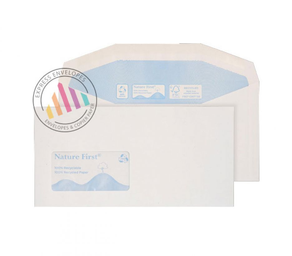 Recycled DL+ - White Mailing Envelopes - 90gsm - Window - Gummed