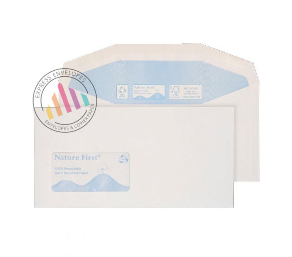 Recycled DL++ - White Mailer Envelopes - 90gsm - Window - Gummed