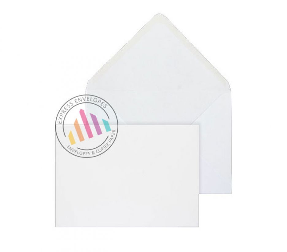 121mm x 184mm - White  Invitation Envelopes - 90gsm - Non Window - Gummed