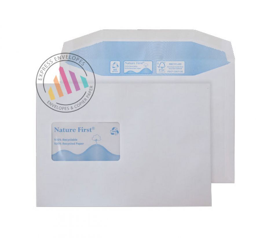 Recycled C5 - White Mailing Envelopes - 90gsm - CBC Window - Gummed