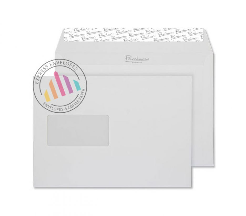C5 - Smooth Diamond White Envelopes - 135gsm - Window - Peel and Seal