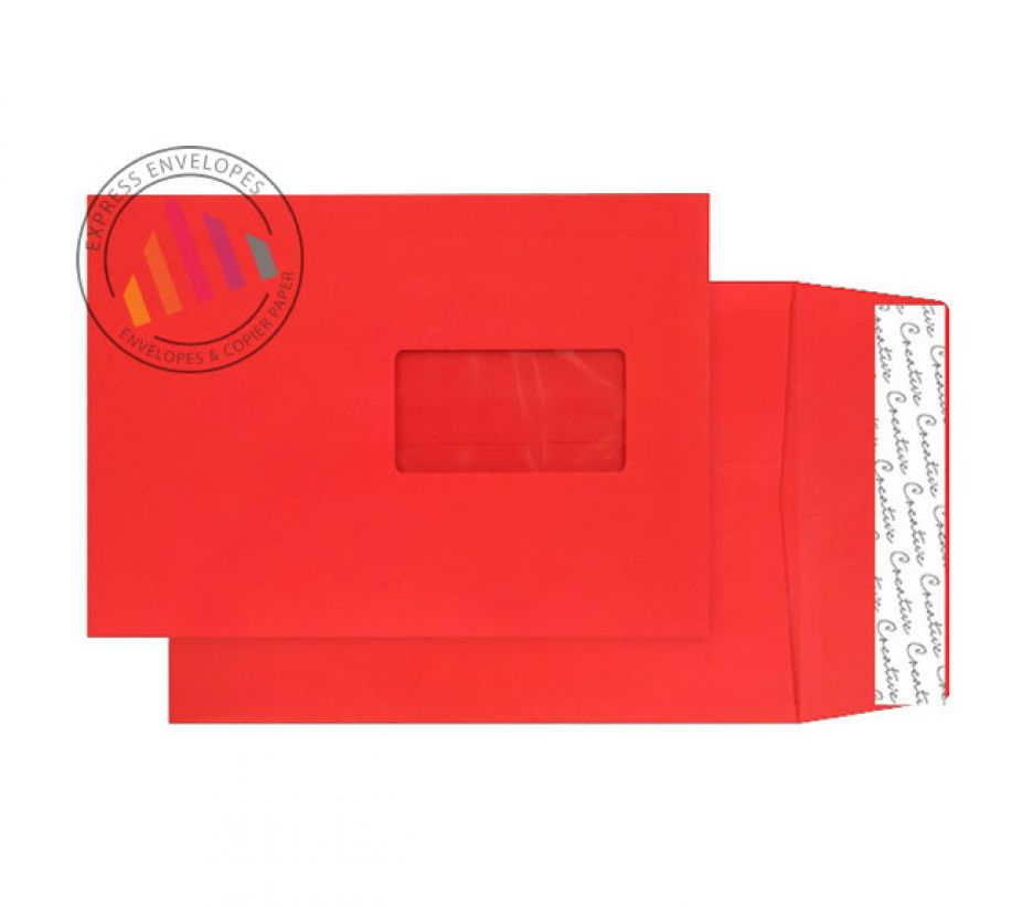 C5 - Pillar Box Red Gusset Envelopes - 140gsm - Window -  Peel and Seal