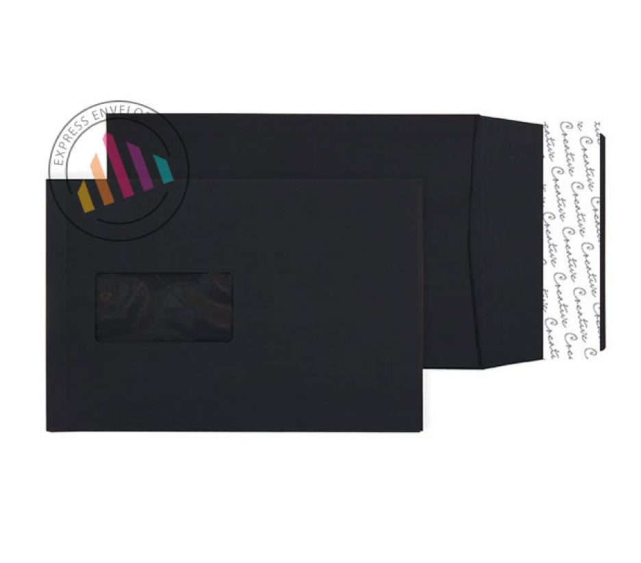 C5 - Jet Black Gusset Envelopes - 140gsm - Window - Peel & Seal