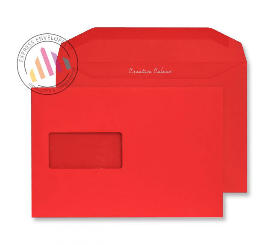 C5+ - Pillar Box Red Envelopes - 120gsm - Window - Gummed