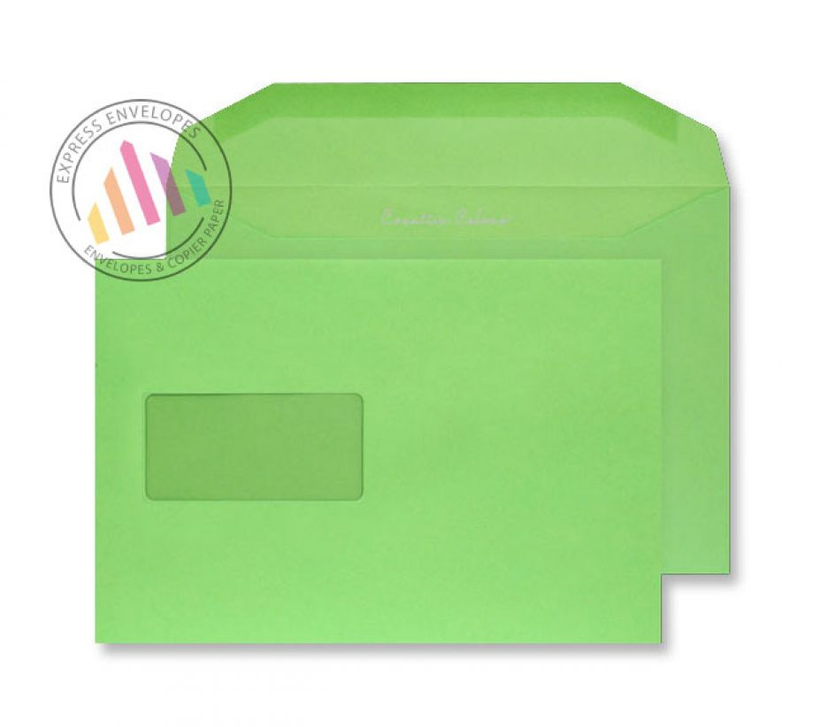 C5+ - Lime Green Envelopes - 120gsm - Window - Gummed
