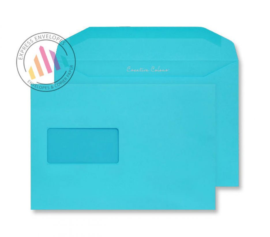 C5+ - Cocktail Blue Envelopes - 120gsm - Window - Gummed