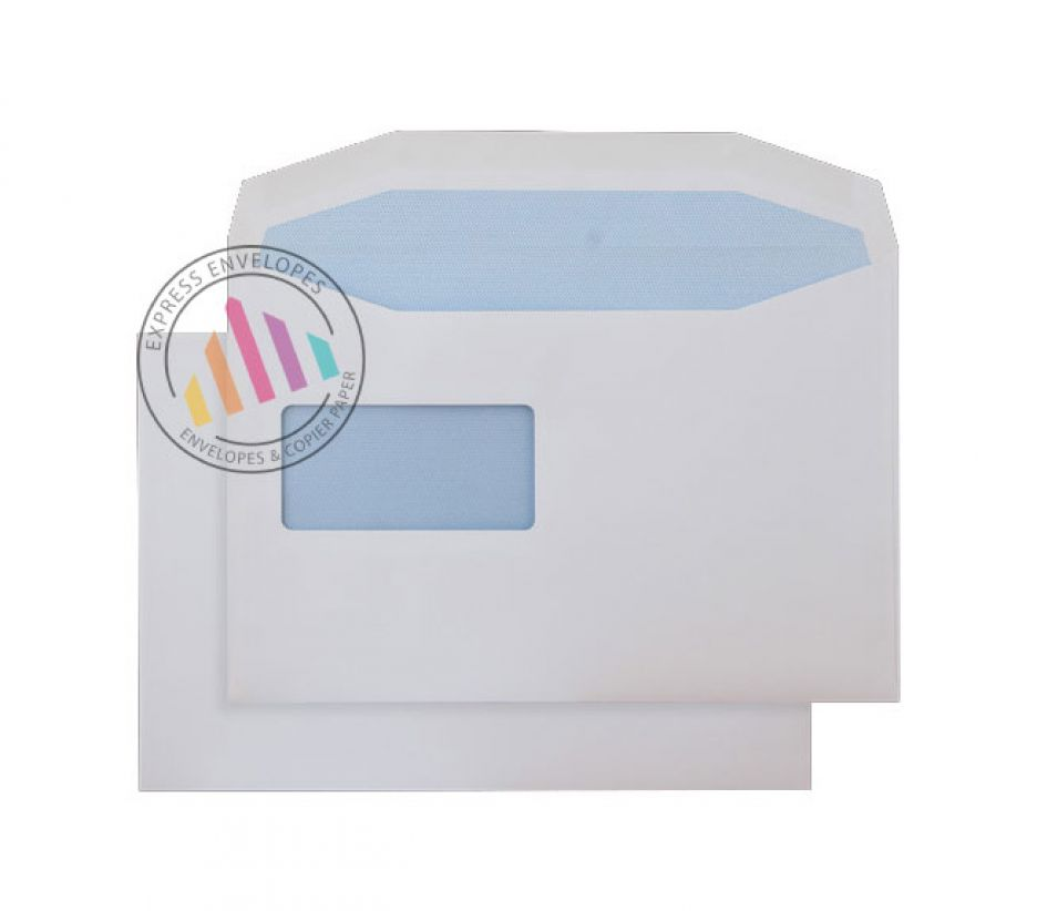 C5+ - White Mailing Envelopes - 100gsm - Reverse Window - Gummed