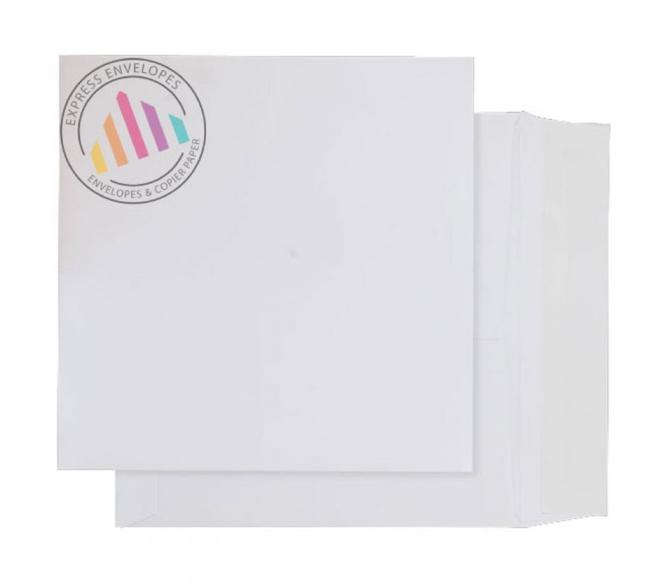 165 x 165mm - Ultra White Card Envelopes - 210gsm - Peel and Seal