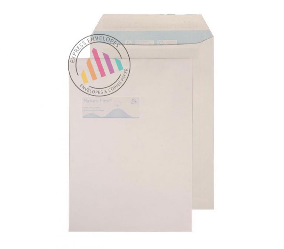 Recycled C4 -  White Mailing Envelopes - 100gsm - Window - Self Seal