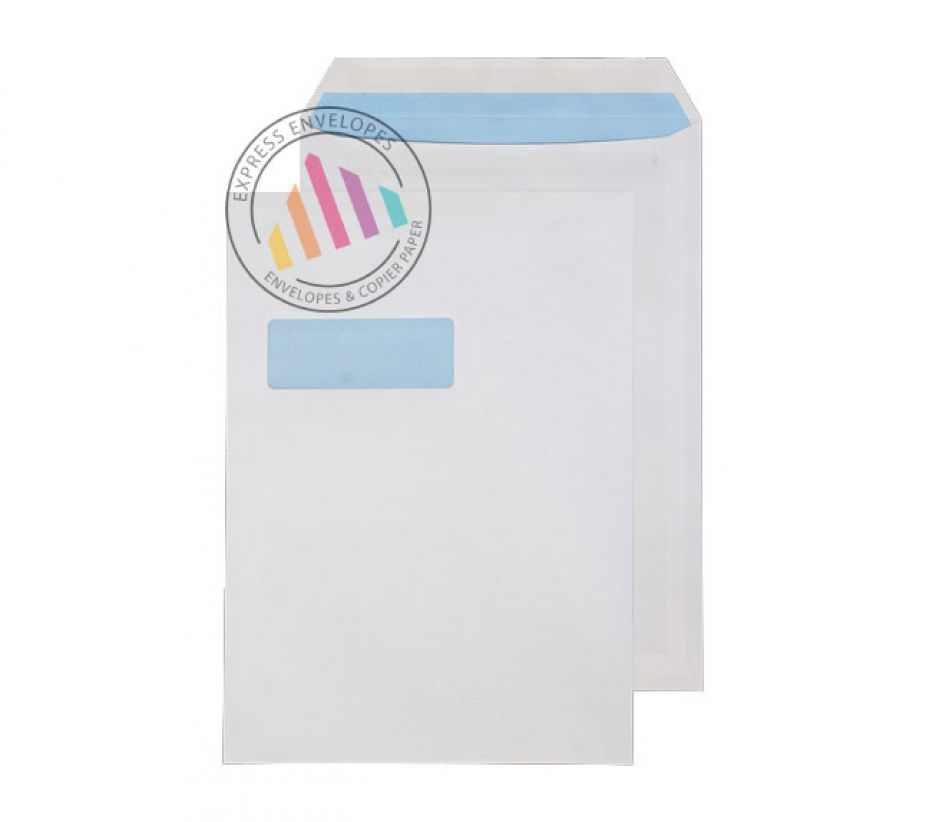 C4 - White Commercial Envelopes - 110gsm - Window - Self Seal