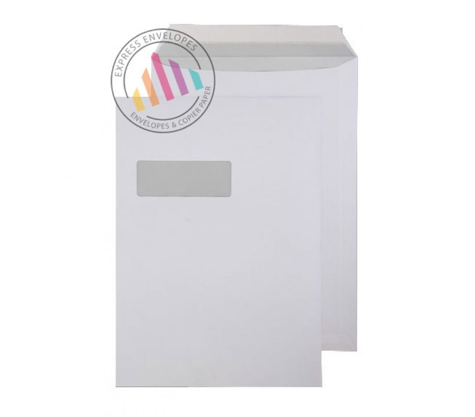 C4 - Bright White Commercial Envelopes - 120gsm - Window - Peel & Seal