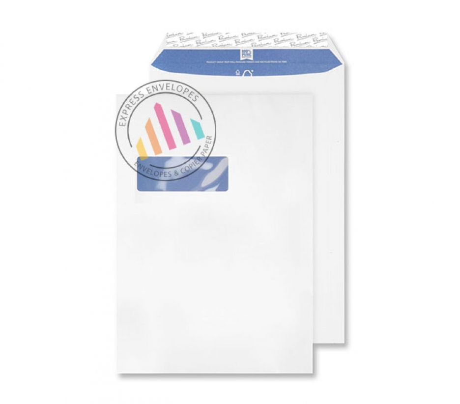 C4 - Super White Wove Envelopes - 120gsm - Window - Peel & Seal