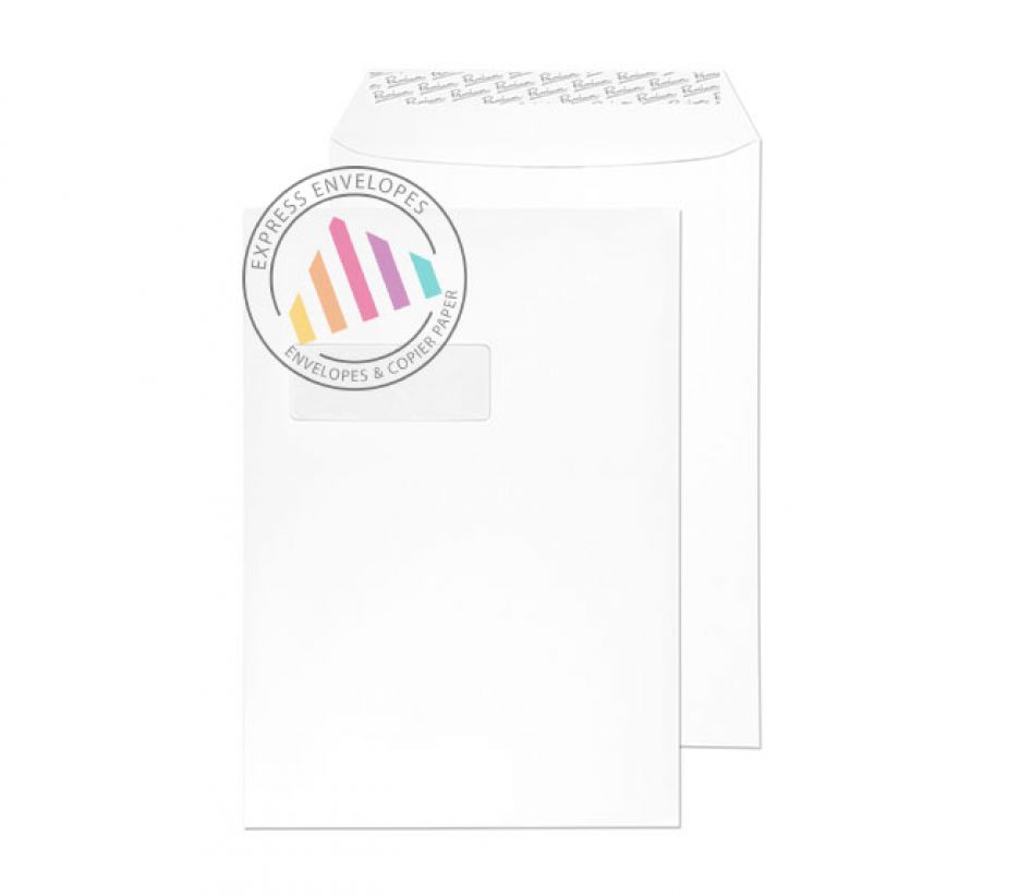C4 - Smooth Diamond White Envelopes - 135gsm - Window - Peel & Seal