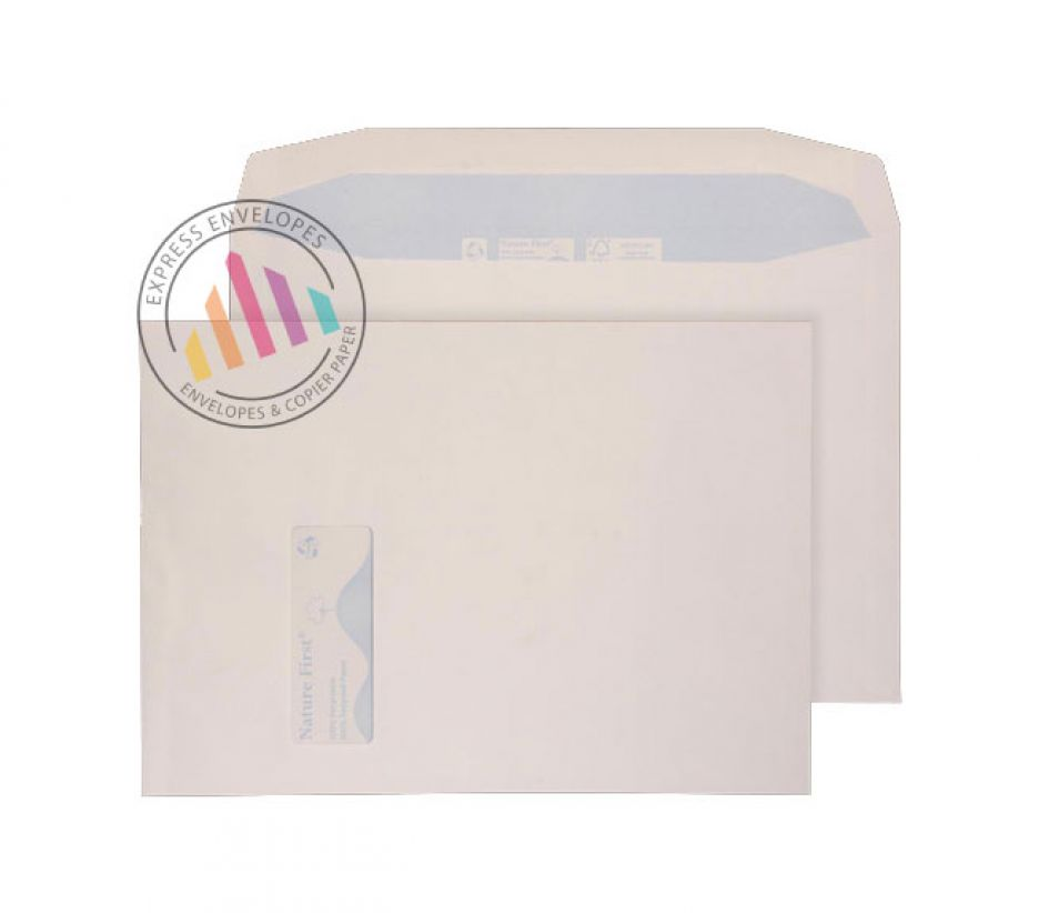 Recycled C4 -  White Mailing Envelopes - 100gsm - Window - Gummed