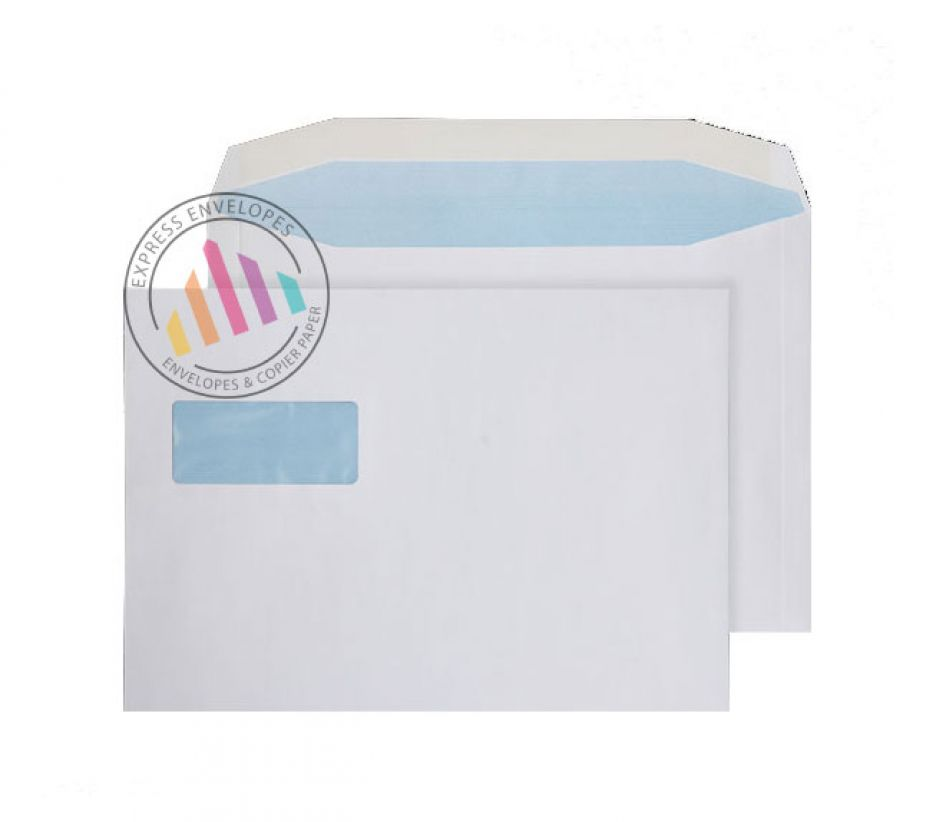 C4 - White Mailing Envelopes - 100gsm - Landscape Window - Gummed