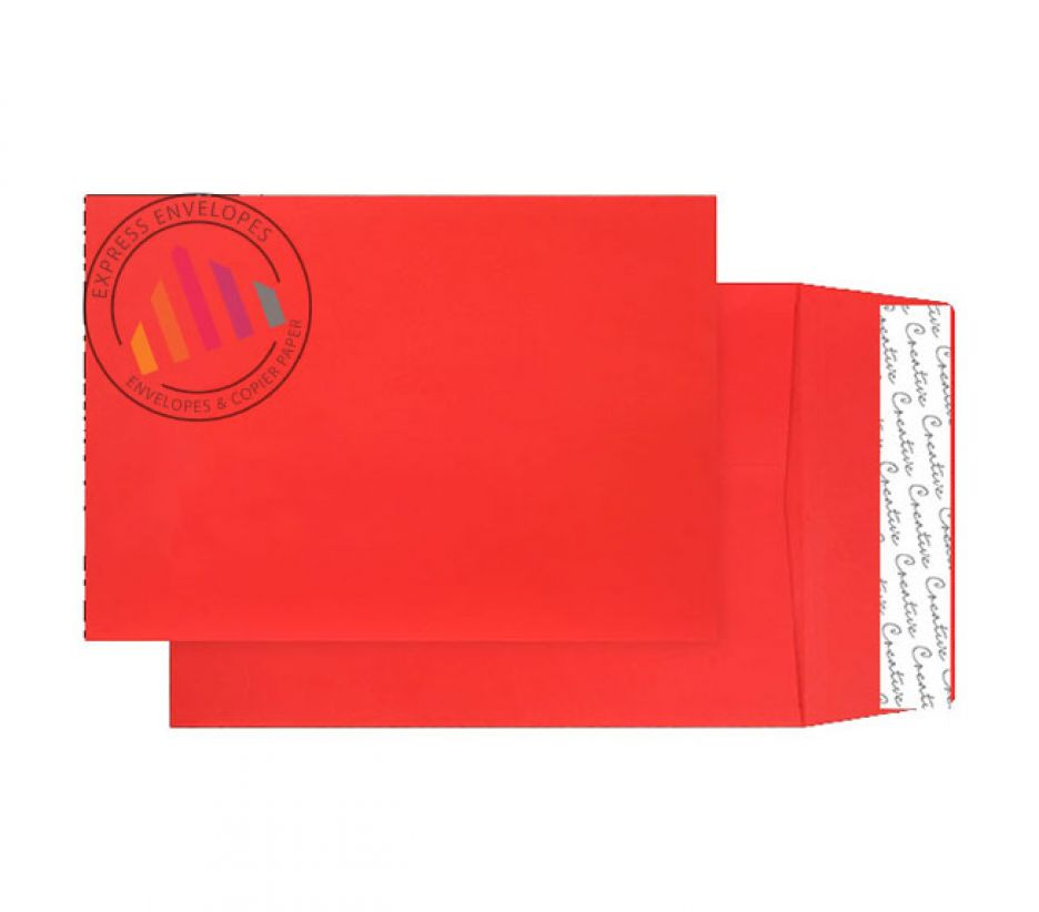 C4 - Pillar Box Red Gusset Envelopes - 140gsm - Non Window - Peel & Seal