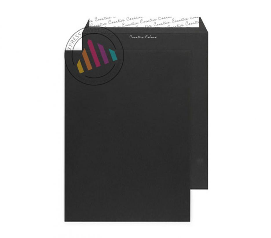 C4 - Jet Black Gusset Envelopes - 140gsm - Non Window - Peel & Seal