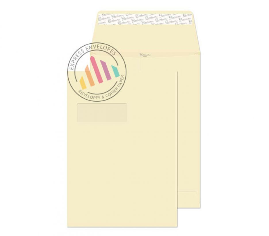 C4 - Cream Wove Gusset Envelopes - 140gsm - Window - Peel & Seal