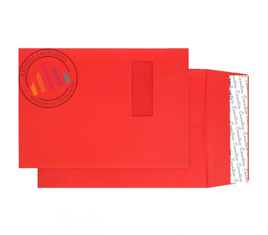 C4 - Pillar Box Red Gusset Envelopes - 140gsm - Window - Peel & Seal