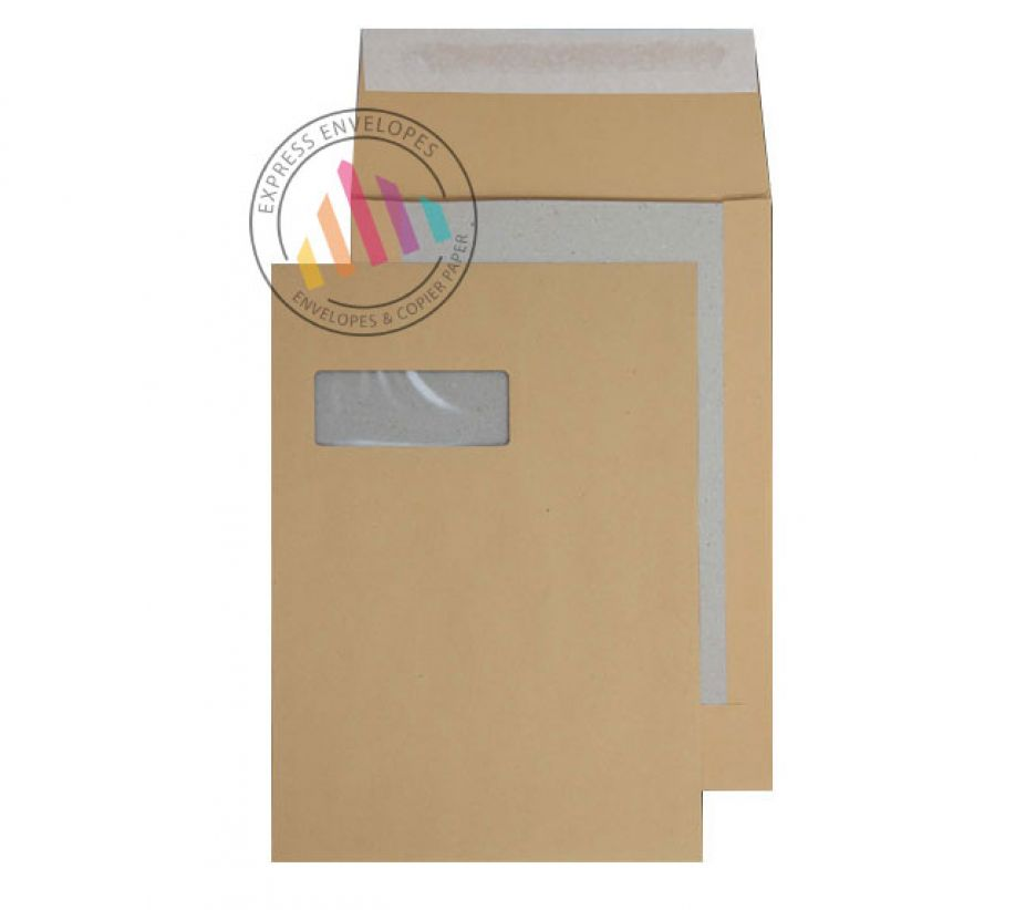 C4 - Manilla Board Back Envelopes - 120gsm - Window - Peel and Seal