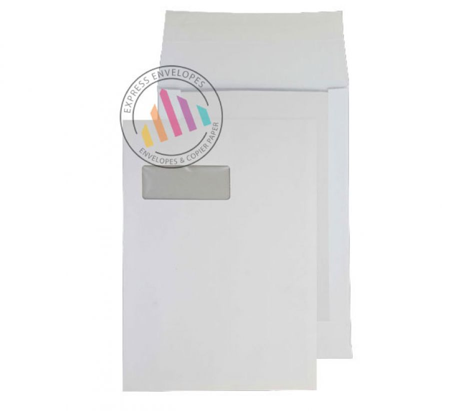 C4 - White Board Backed Gusset Envelopes - 120gsm - Window - Peel & Seal