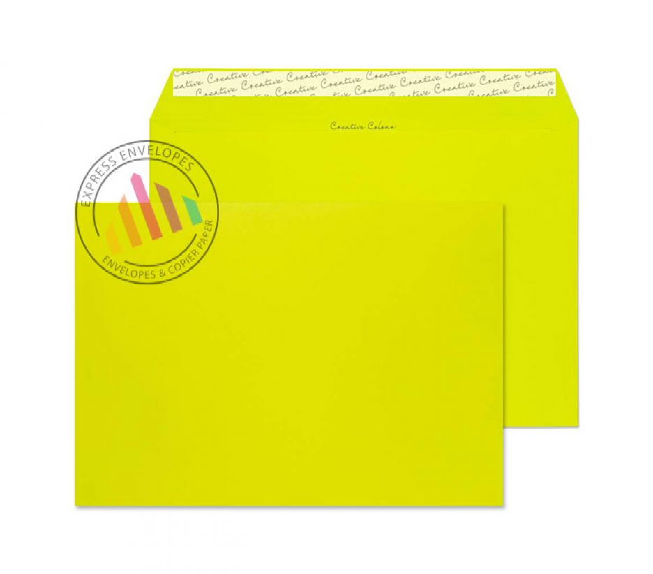 C4 - Acid Green Envelopes - 120gsm - Non Window - Peel and Seal