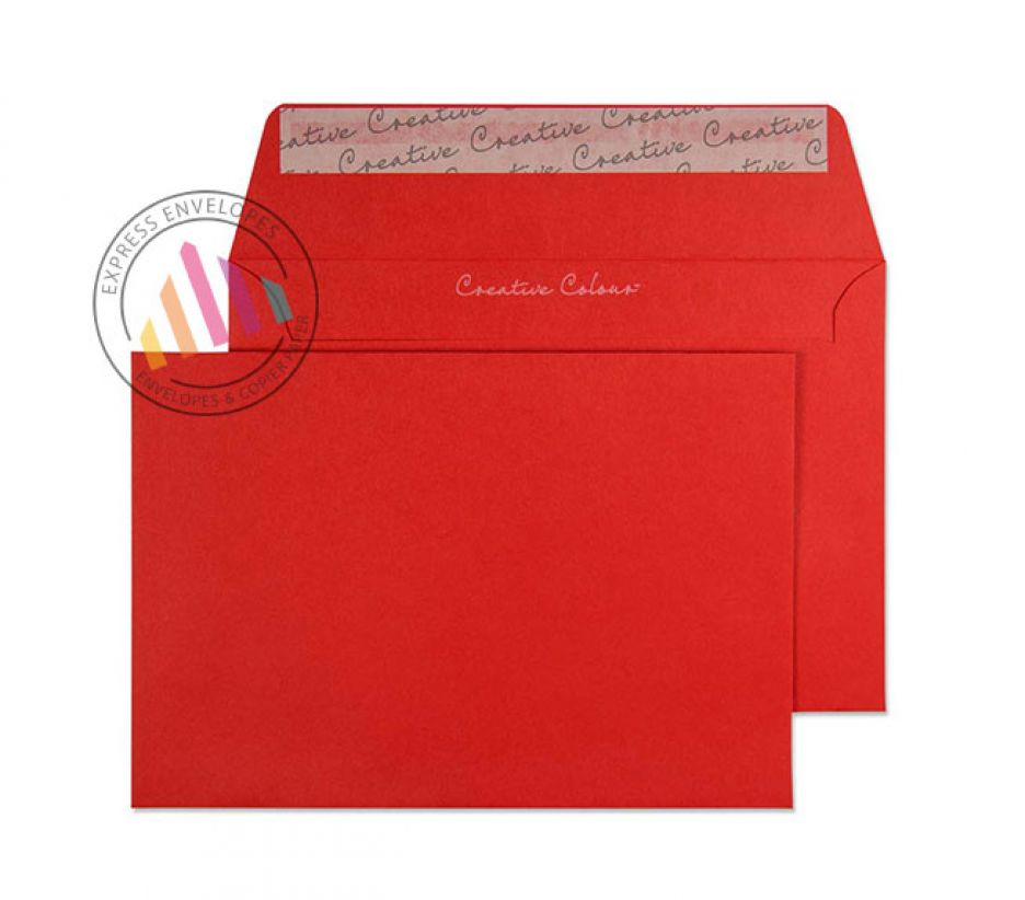 C6 - Pillar Box Red Envelopes - 120gsm - Non Window - Peel and Seal