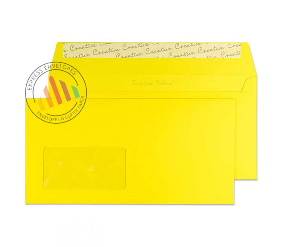 DL+ - Banana Yellow Envelopes - 120gsm - Window - Peel and Seal