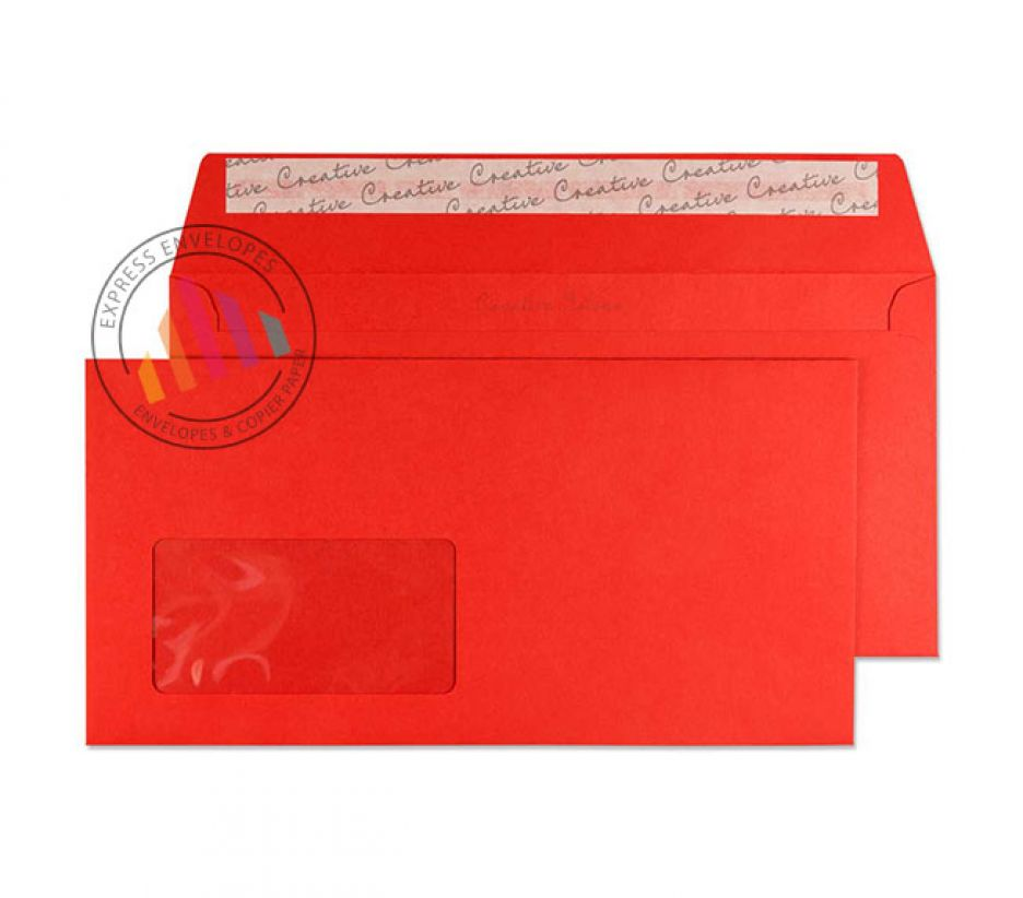 DL+ - Pillar Box Red Envelopes - 120gsm - Window - Peel and Seal