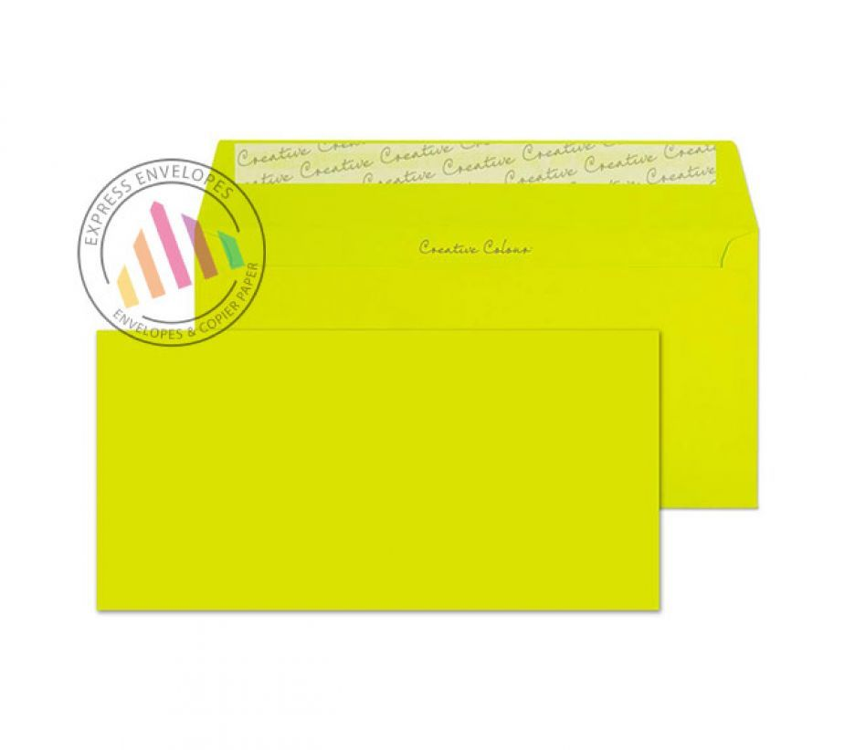 DL+ - Acid Green Envelopes - 120gsm - Non Window - Peel and Seal