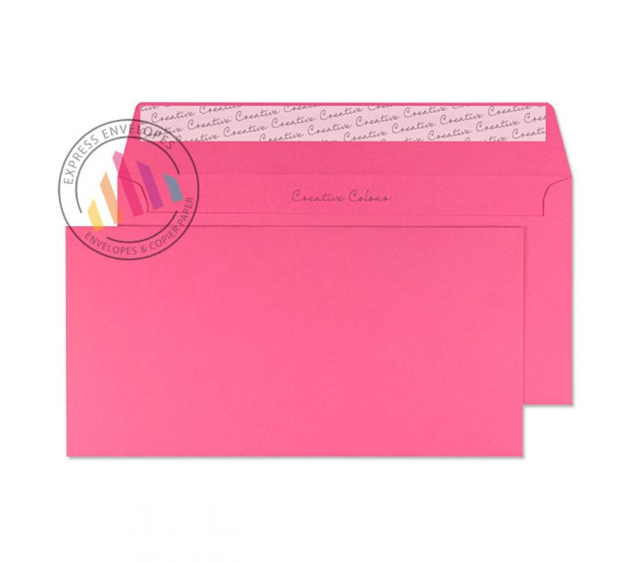 DL+ - Flamingo Pink Envelopes - 120gsm - Non Window - Peel and Seal