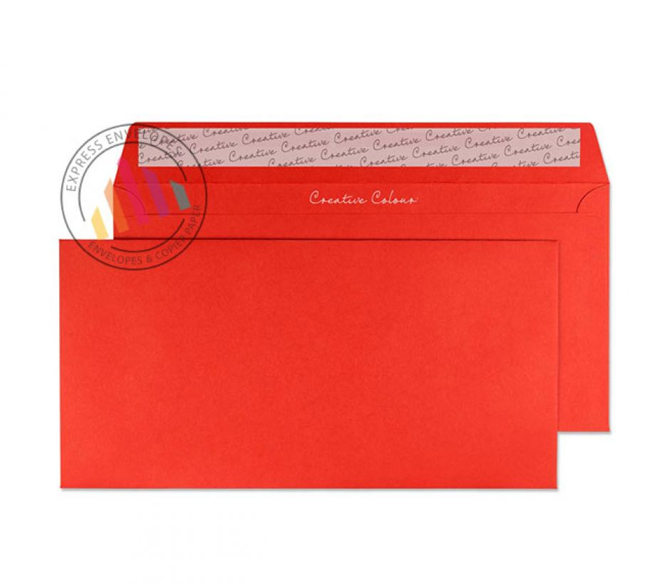 DL+ - Pillar Box Red Envelopes  - 120gsm - Non Window - Peel and Seal