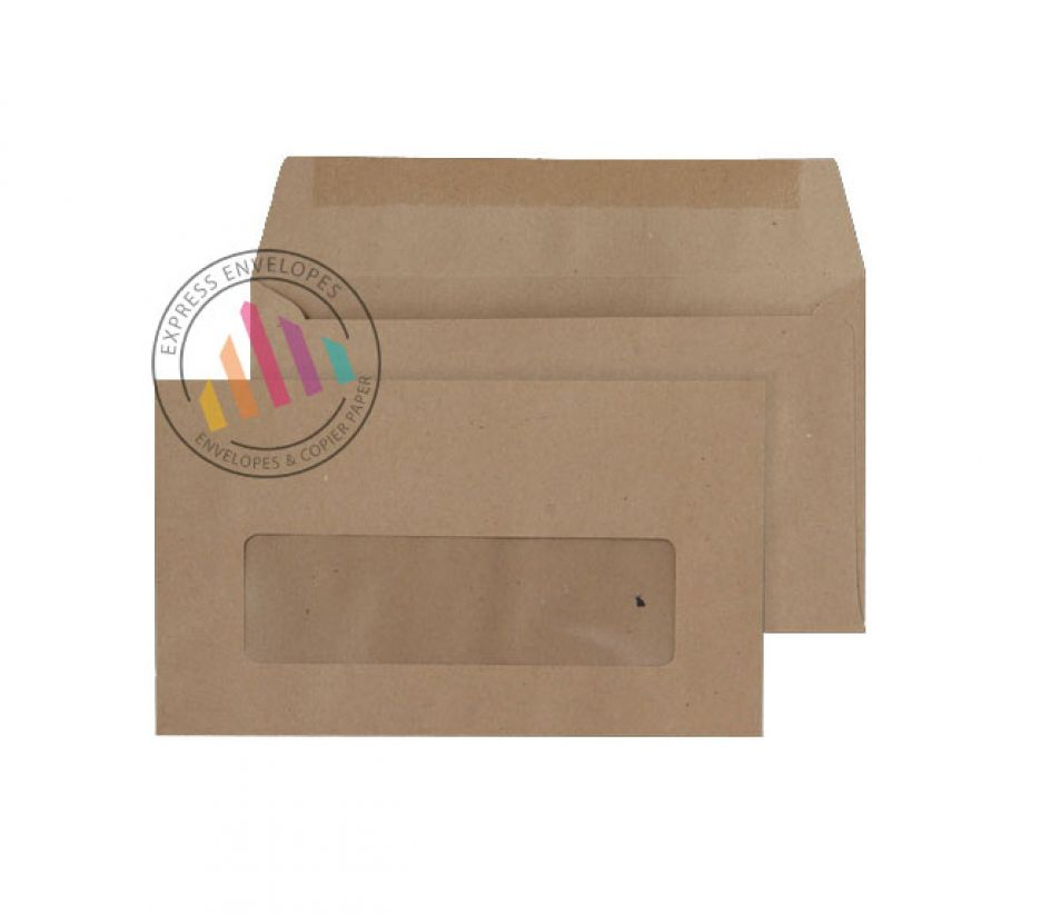 89 x 152 -  Manilla  Commercial Envelopes - 70gsm - Window - Gummed