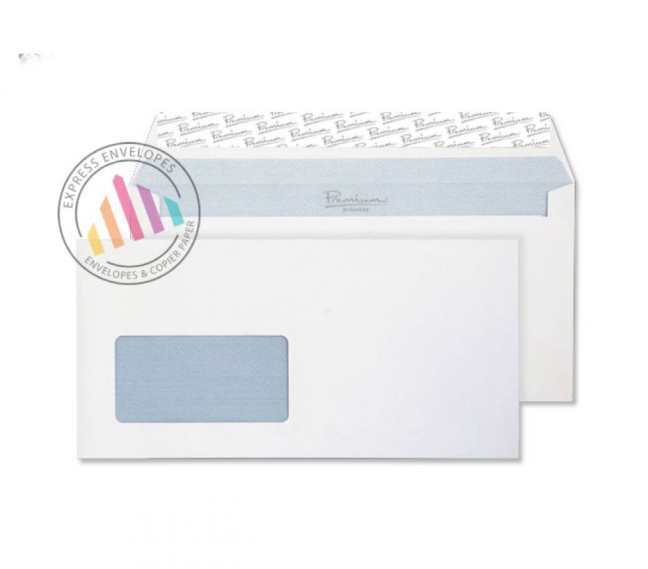 DL+ - Ultra White Wove Envelopes - 120gsm - Window - Peel and Seal