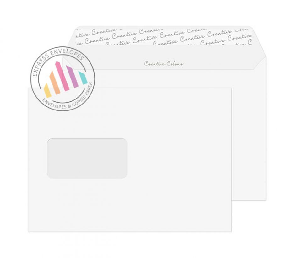 C5 - Ice White Envelopes - 120gsm - Window - Peel and Seal