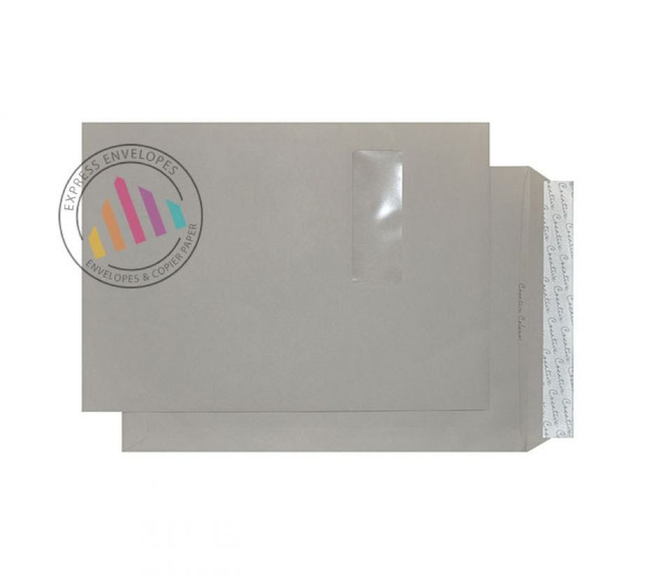C4 - Storm Grey Envelopes - 120gsm - Window - Peel and Seal
