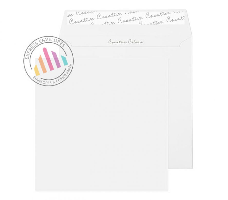 155×155mm - Ice White Square Envelopes - 120gsm - Non Window - Peel and Seal