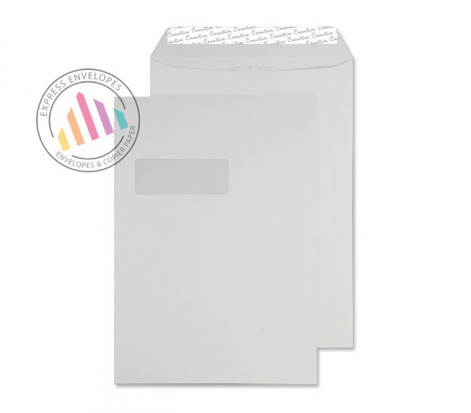 C4 - Ice White Envelopes - 120gsm - Window - Peel and Seal