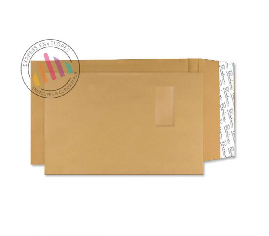 C4 -  Cream Manilla Gusset Envelopes - 140gsm -  Window - Peel and Seal