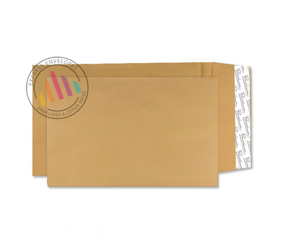 381×254×25mm - Cream Manilla Gusset Envelopes - 140gsm - Peel and Seal