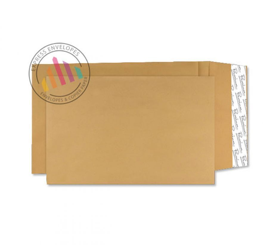 406×305×30mm - Cream Manilla Gusset Envelopes - 140gsm - Peel and Seal