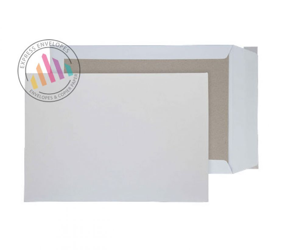 B4 - White Board Back Envelopes - 120gsm - Non Window - Peel and Seal