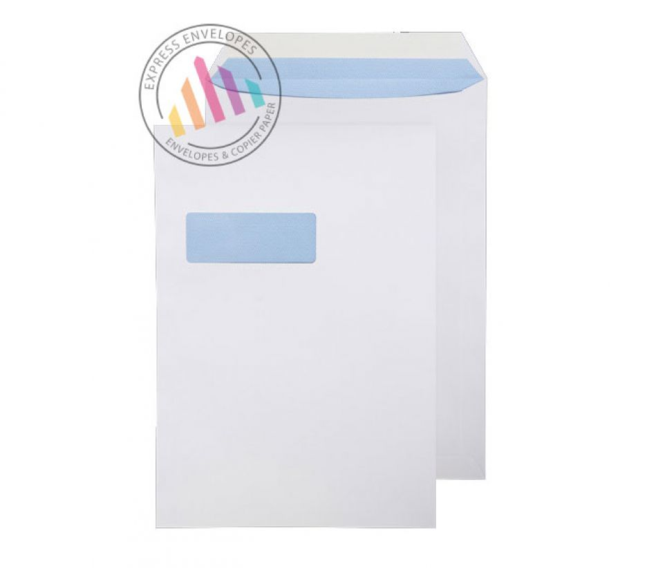 C4 - White Commercial Envelopes - 100gsm - Window - Peel & Seal