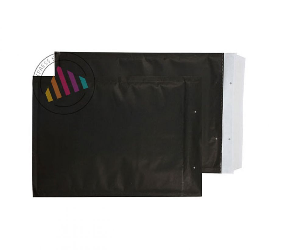 C4+ 335×230mm - Matt Black Padded Bubble Pocket - Peel and Seal
