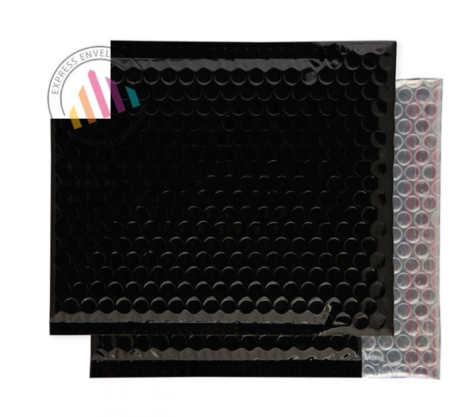 165×165mm - CD Oil Black Padded Bubble Envelopes - Peel and Seal