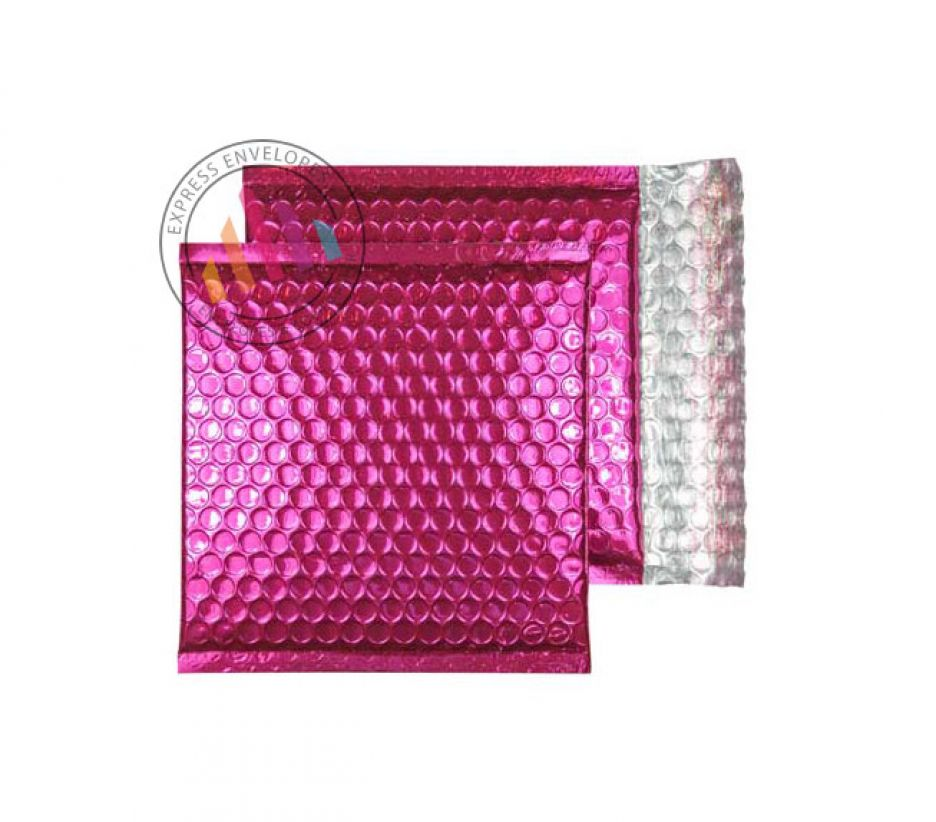 165×165mm - CD Party Pink Padded Bubble Envelopes - Peel and Seal
