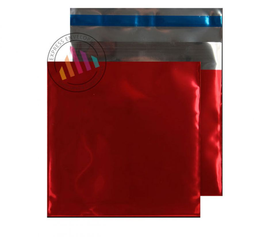 165×165mm - CD Metallic Red Foil Envelopes - 70µm - Peel and Seal